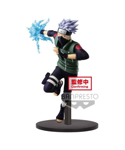Hatake Kakashi, from Naruto Shippuden joins the Vibration Stars line by Banpresto. With his Sharingan activated, Hatake Kakashi stands over 19 cm tall, poised to attack with his original Chidori!
