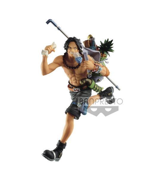One Piece Mania Produce Three Brothers Portgas D. Ace From Banpresto, the Mania Produce Three Brothers Portgas D. Ace figure stands over 14 cm tall and is ready for adventure! Add him to your collection today!